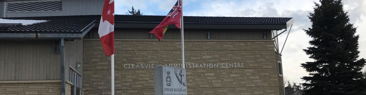 Clearview Administration Centre Flags at Half-Mast